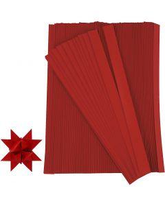 Bandes de papier étoiles, L: 45 cm, L: 10 mm, d: 4,5 cm, rouge, 500 bandes/ 1 Pq.