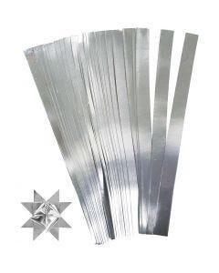 Bandes de papier étoiles, L: 45 cm, d: 6,5 cm, L: 15 mm, argent, 100 bandes/ 1 Pq.