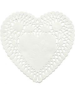Napperons en papier, coeur, d: 10 cm, 30 pièce/ 1 Pq.
