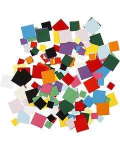 Mosaïques en papier cartonné, carré, dim. 10+15+20 mm, 180 gr/ 1 Pq.