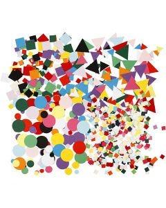 Mosaïques en papier cartonné, dim. 10+15+20 mm, couleurs assorties, 8x180 Pq./ 1 Pq.