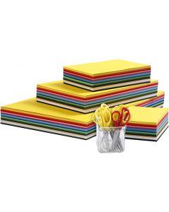 Papier cartonné de couleurs et set de ciseaux enfants, A3,A4,A5,A6, 180 gr, couleurs assorties, 1 set