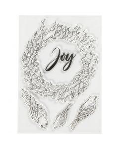 Timbres designs, joie, dim. 10,5x15 cm, 1 flles
