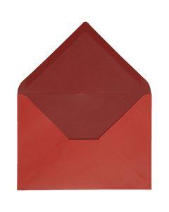 Enveloppe, dimension enveloppes 11,5x16 cm, 100 gr, rouge/vin rouge, 10 pièce/ 1 Pq.