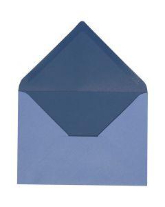 Enveloppe, dimension enveloppes 11,5x16 cm, 100 gr, bleu clair/bleu foncé, 10 pièce/ 1 Pq.