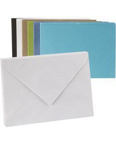Enveloppes colorées, dimension enveloppes 11,5x16 cm, Le contenu peut varier , 100 gr, 100 pièce/ 1 Pq.