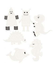Papier cartonné pour point de croix, animaux/robots, H: 8-13 cm, blanc, 6x3 pièce/ 1 Pq.