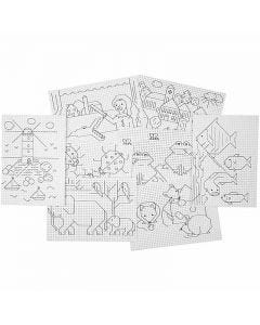 Carton point de croix à motifs, 3x3 trous par cm, 8x5 flles/ 1 Pq.