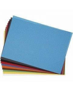 Carton point de croix, dim. 23x33 cm, 3x3 trous par cm, couleurs assorties, 10 flles ass./ 1 Pq.