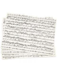 Papier kraft imprimé, notes de musique, A4, 210x297 mm, 100 gr, 10 flles/ 1 Pq.
