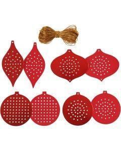 Papier cartonné pour point de croix,  Décoration de Noël, H: 8,5-12 cm, diamètre intérieur 3 mm, 280 gr, rouge métallique, 32 pièce/ 1 Pq.