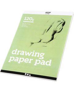 Bloc de dessin, A4, 210x297 mm, 120 gr, blanc, 30 flles/ 1 pièce