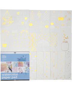 Bloc de papier aquarelle avec dessins imprimés, dim. 30,5x30,5 cm, blanc, 12 flles/ 1 pièce