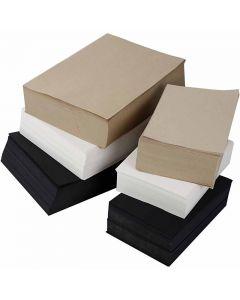 Papier kraft, A3,A4, 100 gr, noir, gris, noble, blanc, 6000 flles ass./ 1 Pq.