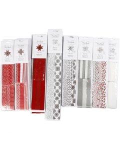 Bandes de papier étoiles, L: 45+86+100 cm, d: 6,5+11,5+18 cm, L: 15+25+40 mm, noir, rouge, argent, blanc, 18 Pq./ 1 Pq.