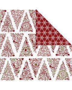 Papier Design, sapins de Noël et cristaux de galce, 30,5x30,5 cm, 180 gr, or, rouge, blanc, 3 flles/ 1 Pq.