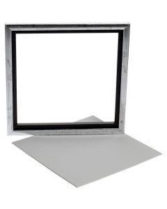 Canevas avec cadre, dim. 25x25 cm, blanc, 1 pièce