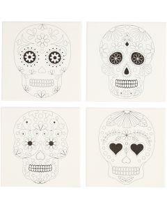Toile avec impression, crânes, dim. 20x20 cm, 280 gr, blanc, 4 pièce/ 1 Pq.