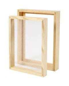 Moule double cadre pour la fabrication de papier, A5, dim. 25x19x3cm , 1 pièce