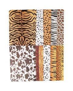Papier cartonné à motifs animaux, A4, 210x297 mm, 300 gr, 10x10 flles/ 1 Pq.