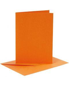 Cartes et enveloppes, dimension carte 10,5x15 cm, dimension enveloppes 11,5x16,5 cm, 110+220 gr, orange, 6 set/ 1 Pq.