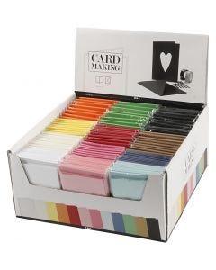 Cartes et enveloppes, dimension carte 10,5x15 cm, dimension enveloppes 11,5x16,5 cm, couleurs assorties, 120 set/ 1 Pq.