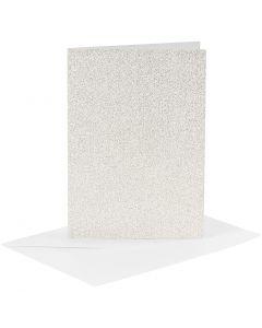 Cartes et enveloppes, dimension carte 10,5x15 cm, dimension enveloppes 11,5x16,5 cm, paillettes, 120+250 gr, blanc, 4 set/ 1 Pq.