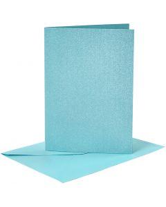 Cartes et enveloppes, dimension carte 10,5x15 cm, dimension enveloppes 11,5x16,5 cm, nacré, 120+210 gr, bleu, 4 set/ 1 Pq.