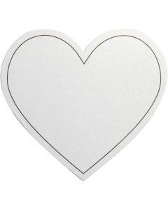carte en Coeur, dim. 75x69 mm, 120 gr, blanc, 10 pièce/ 1 Pq.
