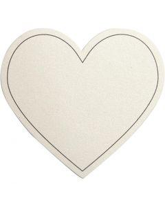 carte en Coeur, dim. 75x69 mm, 120 gr, blanc cassé, 10 pièce/ 1 Pq.