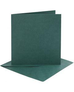 Cartes et enveloppes, dimension carte 15,2x15,2 cm, dimension enveloppes 16x16 cm, 230 gr, vert foncé, 4 set/ 1 Pq.