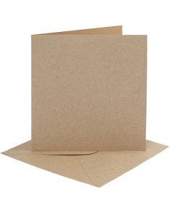 Cartes et enveloppes, dimension carte 15,2x15,2 cm, dimension enveloppes 16x16 cm, 230 gr, naturel, 4 set/ 1 Pq.
