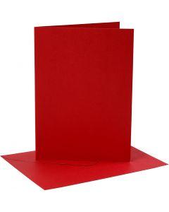 Cartes et enveloppes, dimension carte 12,7x17,8 cm, dimension enveloppes 13,3x18,5 cm, 230 gr, rouge, 4 set/ 1 Pq.