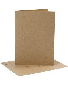 Cartes et enveloppes, dimension carte 12,7x17,8 cm, dimension enveloppes 13,3x18,5 cm, 230 gr, naturel, 4 set/ 1 Pq.