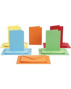 Cartes et enveloppes, dimension carte 10,5x15 cm, dimension enveloppes 11,5x16,5 cm, 110+220 gr, couleurs assorties, 50 set/ 1 Pq.