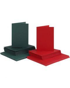 Cartes et enveloppes, dimension carte 10,5x15 cm, dimension enveloppes 11,5x16,5 cm, 110+230 gr, vert, rouge, 50 set/ 1 Pq.