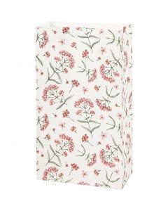 Sac en papier, fleurs, H: 21 cm, dim. 6x12 cm, 80 gr, 8 pièce/ 1 Pq.