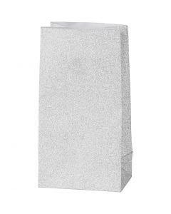 Sac en papier, H: 17 cm, dim. 6x9 cm, 120 gr, argent, 8 pièce/ 1 Pq.