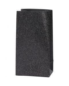 Sac en papier, H: 17 cm, dim. 6x9 cm, 170 gr, noir, 8 pièce/ 1 Pq.