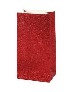 Sac en papier, H: 17 cm, dim. 6x9 cm, 200 gr, rouge, 8 pièce/ 1 Pq.