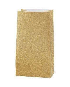 Sac en papier, H: 17 cm, dim. 6x9 cm, 170 gr, or, 8 pièce/ 1 Pq.