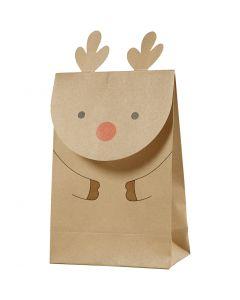 Sac en papier, renne, H: 18 cm, dim. 6x12 cm, 80 gr, brun, 6 pièce/ 1 Pq.