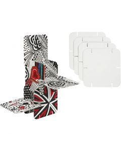 Pièces de construction, dim. 9,3x9,3 cm, blanc, 20 pièce/ 1 Pq.
