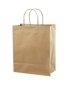 Sac en papier, H: 33 cm, L: 26x13 cm, 125 gr, brun, 10 pièce/ 1 Pq.