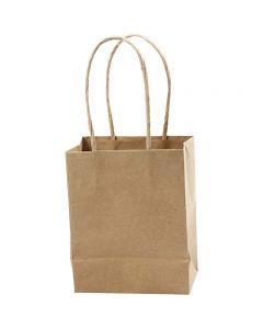 Sac en papier, H: 17 cm, L: 12x7 cm, 125 gr, brun, 10 pièce/ 1 Pq.