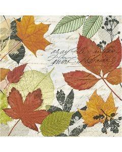 Serviettes de table, Feuilles d'automne, dim. 33x33 cm, 20 pièce/ 1 Pq.