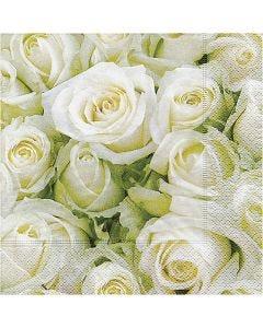Serviettes de table, Roses blanches, dim. 33x33 cm, 20 pièce/ 1 Pq.