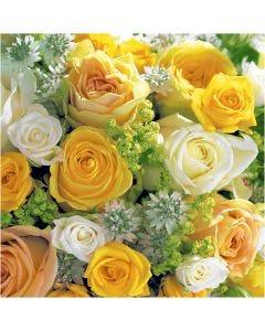 Serviettes de table, Bouquet de roses, dim. 33x33 cm, 20 pièce/ 1 Pq.