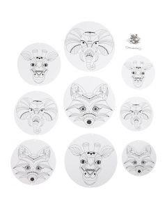 Décorations pour mobile avec motifs, d: 12+15+18 cm, 300 gr, blanc, 3 set/ 1 Pq.
