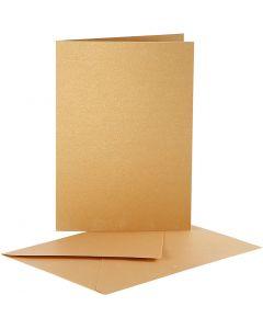 Cartes nacrées et enveloppes, dimension carte 10,5x15 cm, dimension enveloppes 11,5x16,5 cm, or, 10 set/ 1 Pq.